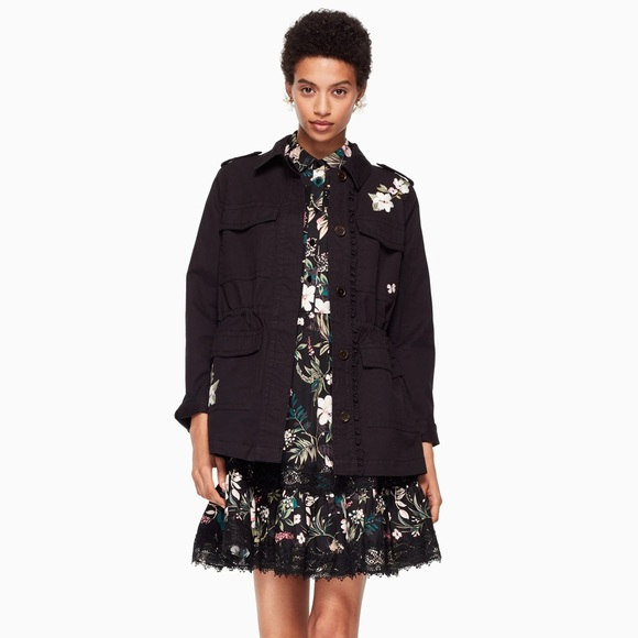 Kate Spade Floral Embroidered Army Jacket Black L
